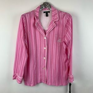 Lauren Ralph Lauren Pink Striped Button Pajama Set